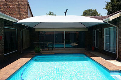 White shadeport over pool